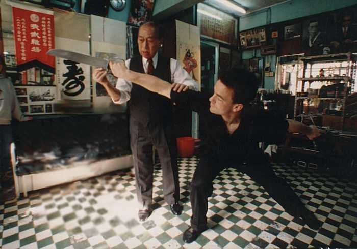 grandmaster lam cho with sifu michael goodwin in lam family studio , hong kong